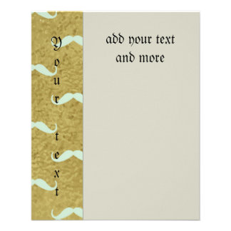 "mustache,gold,mint,hipster,pattern,trendy,fun,mode 4.5"" x 5.6"" flyer"