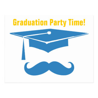 Mustache Graduation Light Blue Postcard