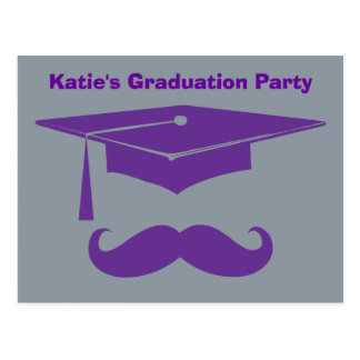 Mustache Graduation Purple Postcard