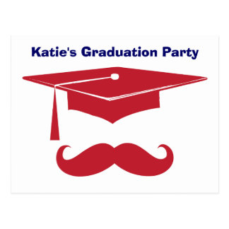 Mustache Graduation Red Postcard