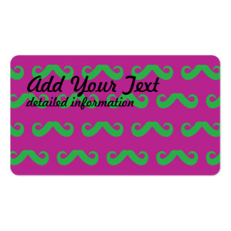 Mustache Green Magenta Business Cards