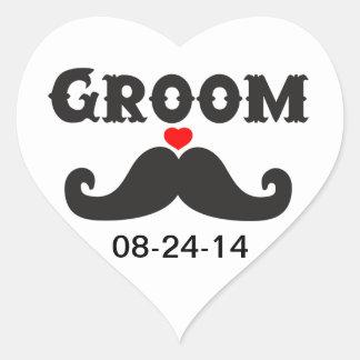 Mustache Groom Heart Stickers