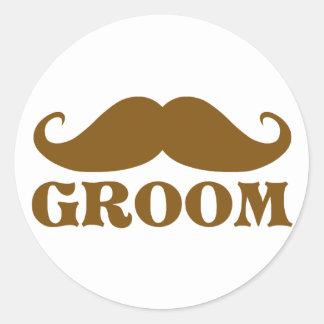 Mustache Groom Round Sticker
