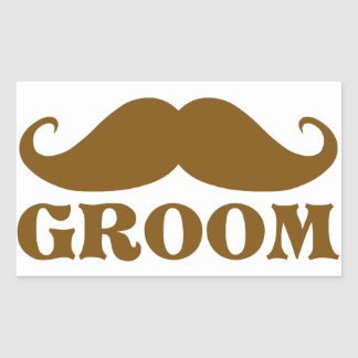 Mustache Groom Rectangle Stickers