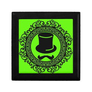 mustache hat hipster keepsake box with trim