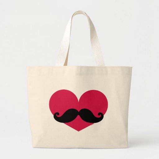 Mustache Heart Tote Bag