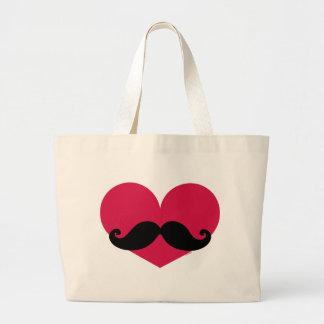 Mustache Heart Jumbo Tote Bag