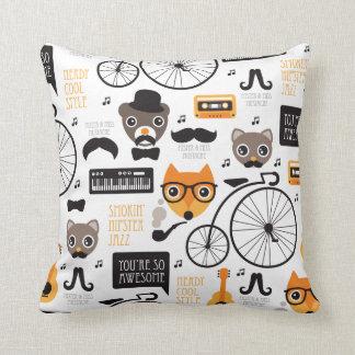 Mustache hipster fox cat and bear illustration throw pillow
