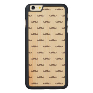 Mustache hipster pattern 3 carved maple iPhone 6 plus case