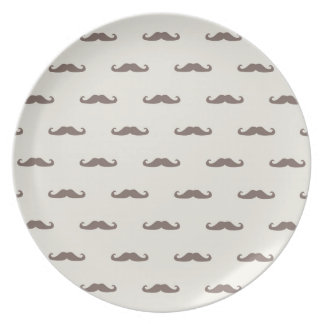 Mustache hipster pattern 3 plate
