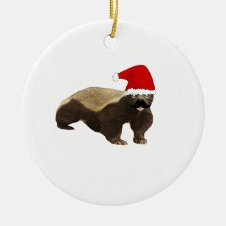 Mustache Honey Badger Santa Christmas Ornament
