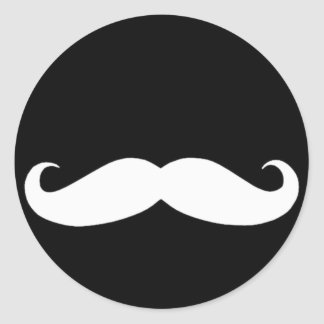 Mustache in Black or White Round Sticker