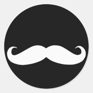 Mustache in Black or White Classic Round Sticker