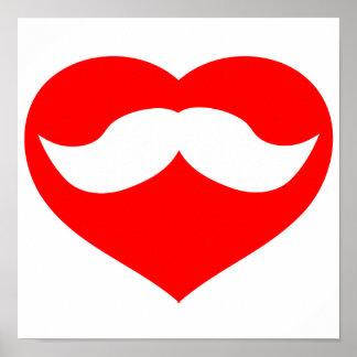 Mustache in Heart Posters