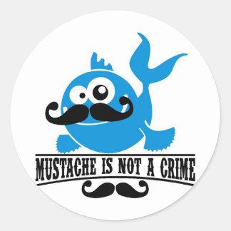 mustache is not a crime round sticker