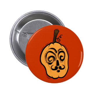 Mustache Jack-o-Lantern Button