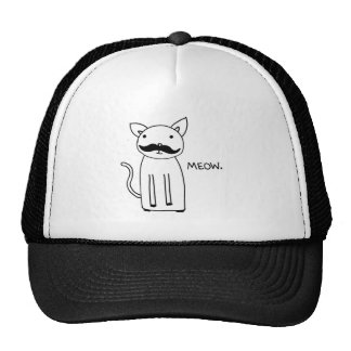 Mustache Kitty Mesh Hats