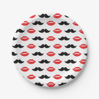 Mustache & Lips His & Hers Wedding Party Pattern Paper Plate
