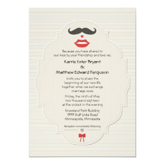 Mustache Lips Retro Wedding Invitation