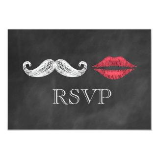Mustache & Lips RSVP Card