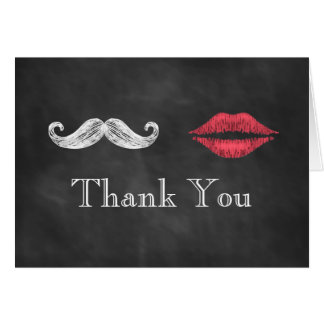 Mustache & Lips Thank You Card