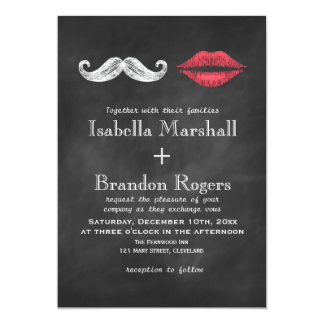 Mustache & Lips Wedding Invitation