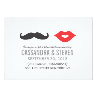 Mustache & Lips Wedding Rehearsal Dinner Invite