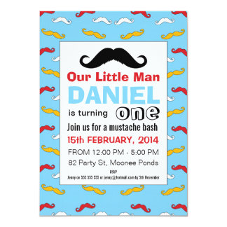 Mustache Little Man 1st Birthday Party Invitation