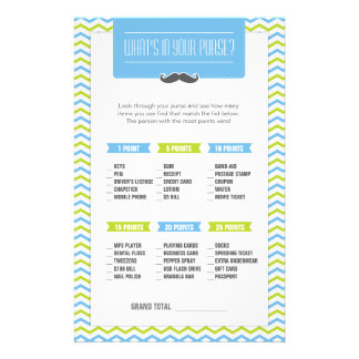 Mustache / Little Man What's in your Purse Game Stationery