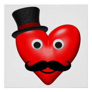 Mustache Love With Tophat Poster