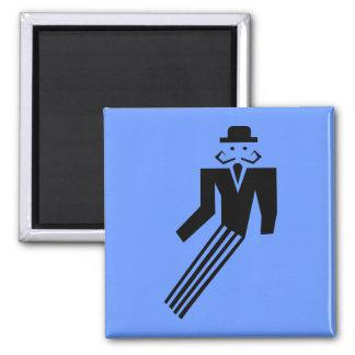 Mustache Man - Art Deco Square Magnet