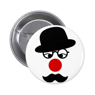Mustache Man with Hat and Clown Nose 6 Cm Round Badge