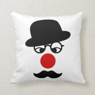 Mustache Man with Hat and Clown Nose Pillow