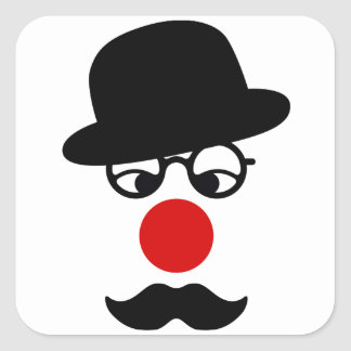 Mustache Man with Hat and Clown Nose Square Sticker