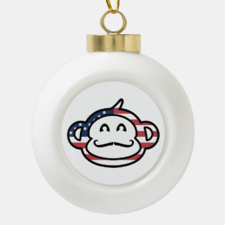 Mustache Monkey America Ceramic Ball Christmas Ornament