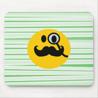 Mustache monocle Smiley Mouse Pad