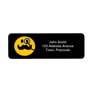 Mustache monocle Smiley Return Address Label