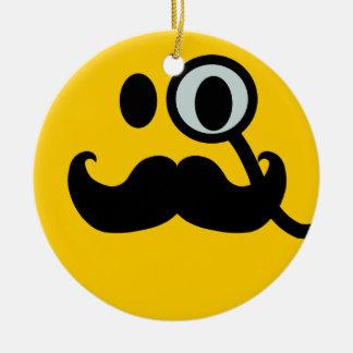 Mustache monocle Smiley Round Ceramic Decoration