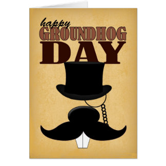 Mustache Moustache Groundhog Day Card