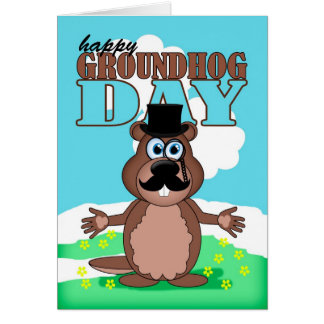 Mustache Moustache Groundhog Day With Cute Cartoon Greeting Cards