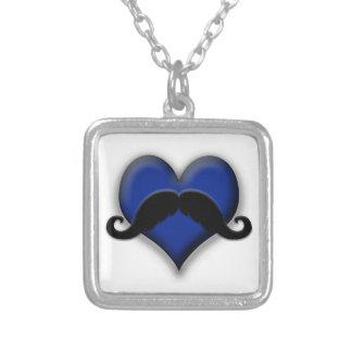 Mustache Moustache Heart in Blue Pendants