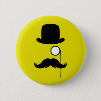 Mustache Moustache Stache Man with Glasses 6 Cm Round Badge