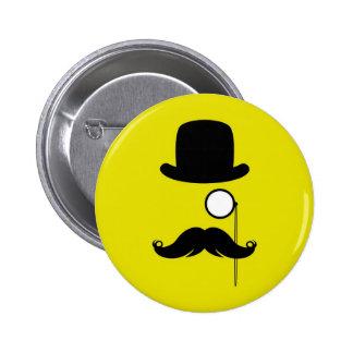 Mustache Moustache Stache Man with Glasses 6 Cm Round Badge