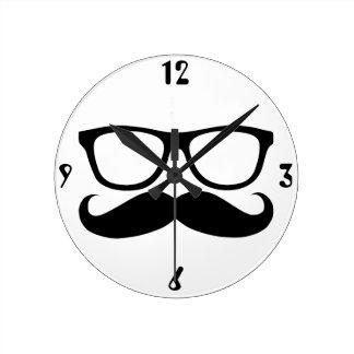 Mustache Nerd Round Clock