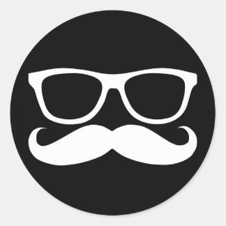 Mustache Nerd Round Sticker