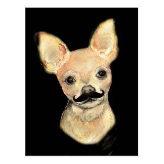 Mustache on a Cute Dog Humor Postcard