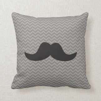 Mustache on grey chevron background cushion