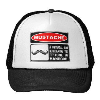 Mustache Or Moustache In Danger Sign Cap