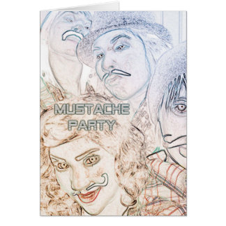 mustache party : neon staches card