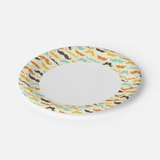 Mustache pattern 3 7 inch paper plate
